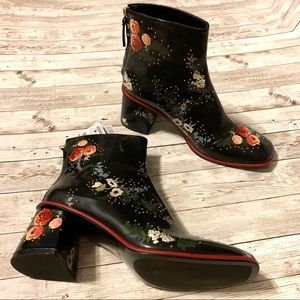 ZARA Black Floral Studded Thick Heel Square Boots